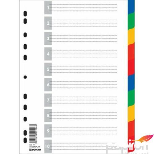 Elválasztó regiszter 10részes DONAU műanyag A4 színregiszter Iratrendezés DONAU 7710095PL-99