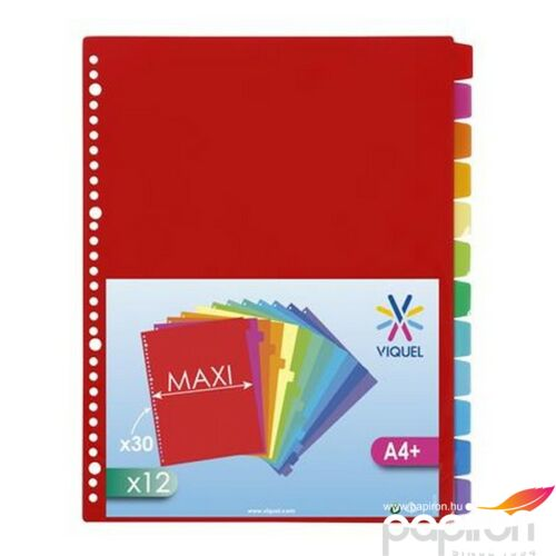 Elválasztó regiszter 12részes VIQUEL PP A4 Maxi, színregiszter Iratrendezés VIQUEL 153787-06
