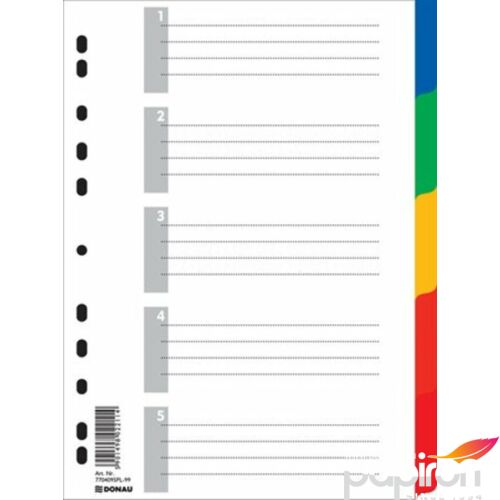 Elválasztó regiszter 5részes DONAU műanyag A4 színregiszter Iratrendezés DONAU 7704095PL-99