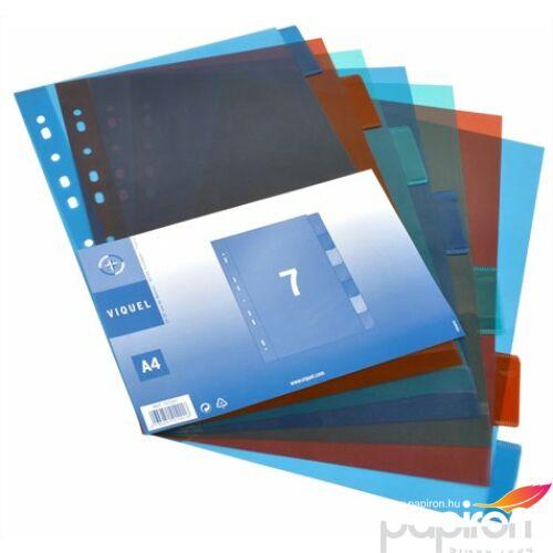 Elválasztó regiszter 6részes VIQUEL PP, A4 Maxi, színes Iratrendezés VIQUEL 153587-06