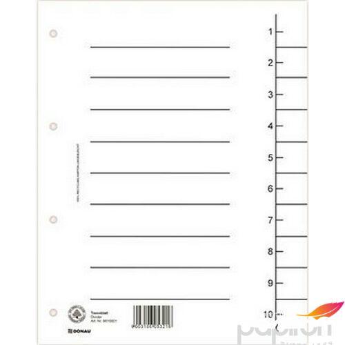 Elválasztó regiszter A4 Donau karton fehér 100ív/csom Iratrendezés DONAU 8610001-09