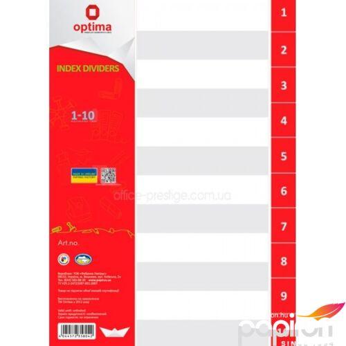 Elválasztólap A4 PVC Optima 1-10 natúr regiszteres Papiron