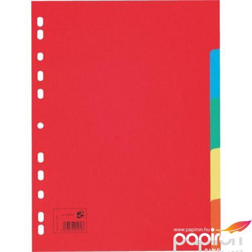 Elválasztólap regiszter 5 Star A4,5 részes, karton színes