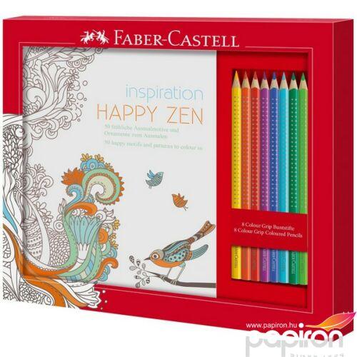 Faber-Castell színező szett HAPPY ZEN+8db Grip Színes ceruza fémdobozban 201433