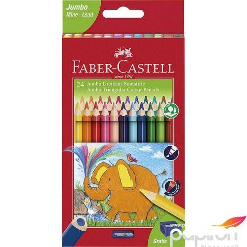 Faber-Castell színes ceruza 24db -os háromszögletű Jumbo+hegyező 116524