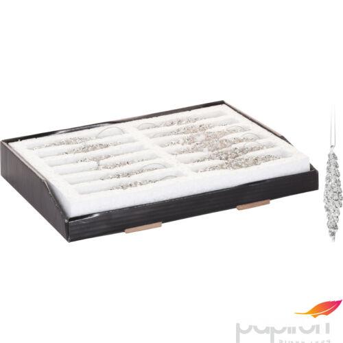 Dekor dísz 12cm üveg akasztós havas jégcsap hatású ezüst glitteres dísz