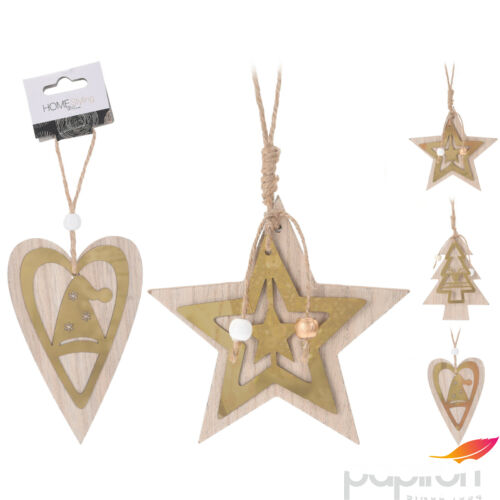 Fenyődísz 12cm mangófa 3féle csillag, szív, fenyőfa tükör efekt lézer vágott