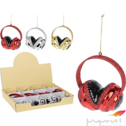 Fenyőfa dekoráció headset akasztós 3féle csillámos színben