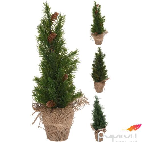 Fenyőfa 35cm  jutazsákban 20 3féle mintával műfenyő