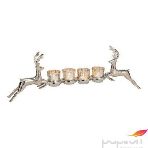 Gyertyatartó fém 20' 57x21x9cm pohárral aluminium exkluzív