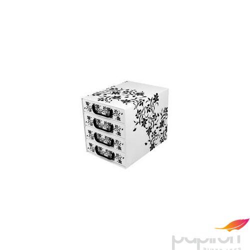 Irattartó box4 fiókos zárt fehér/fekete barokk virágok