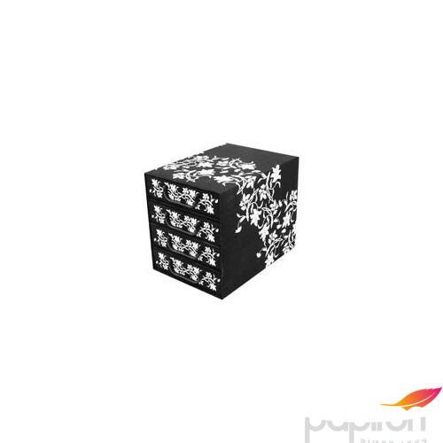 Irattartó box4 fiókos zárt fekete/fehér barokk virágok