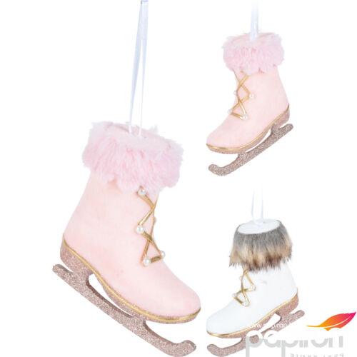 Karácsonyi  10cm korcsolya rózsaszín fehér