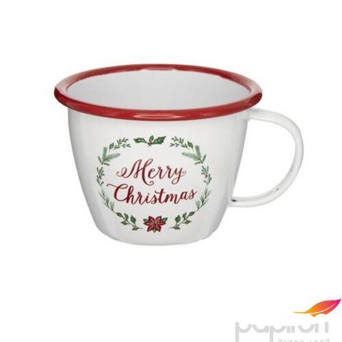 Bögre karácsonyi 21' Merry Christmas felirattal, bádog fehér piros 11x11x10cm