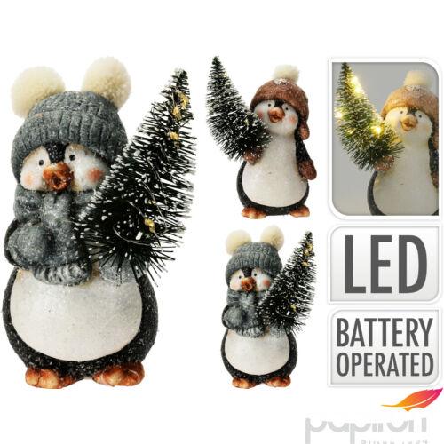 Karácsonyi kerámia pingvin 12cm ledes világítással