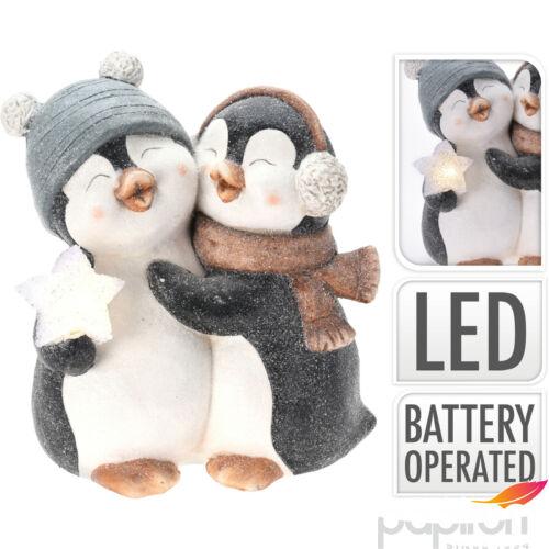Karácsonyi kerámia pingvin 35cm led világítással