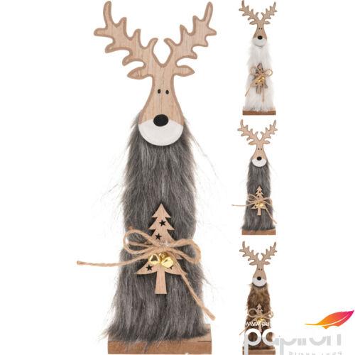 Karácsonyi szarvas szűrös figura fából