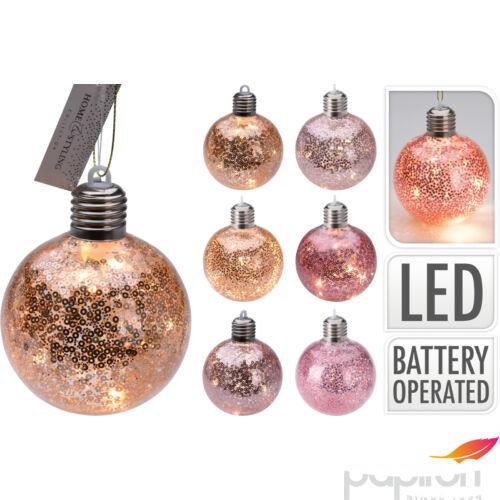 Karácsonyifa gömb 9cm ledes üveg,6féle szín világítással glitteres