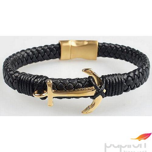 Karkötő bőr fekete fonott bőr arany horgonnyal mágneszárral Díszcsomagolás - prémium ajándék férfiak