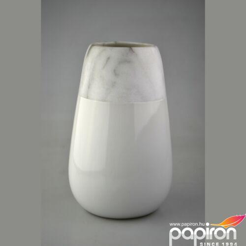 Kerámia váza nagy márvány fehér, klasszik