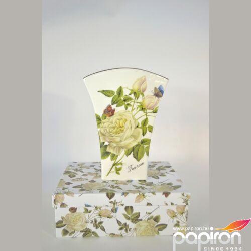 Porcelán váza tearózsa 14,5x20cm