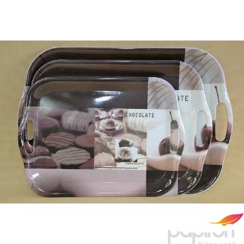 Műanyag tálca fogós 40x28, 8cm chocolate dekor
