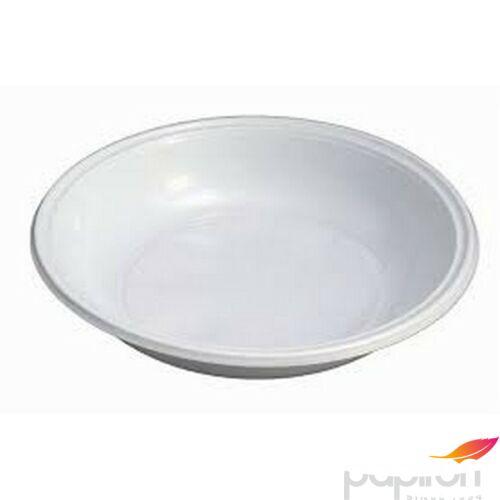 Műanyag tányér mikrózható 21cm mély fehér 85db/csomag Műanyag evőeszközök