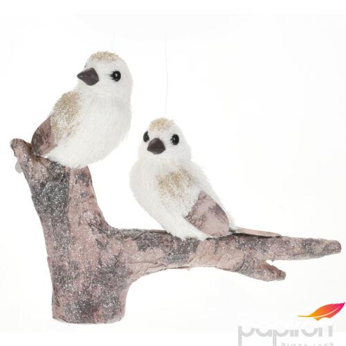 Papirmasé dekor madár ágon 18cm