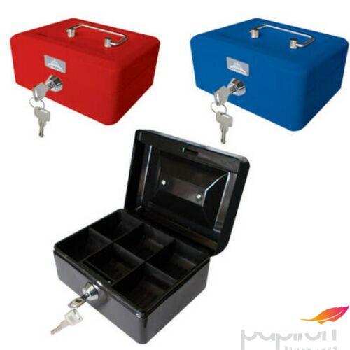 PénzKazetta Office Art 20x16x9cm kulcsos piros, kék, fekete, zöld