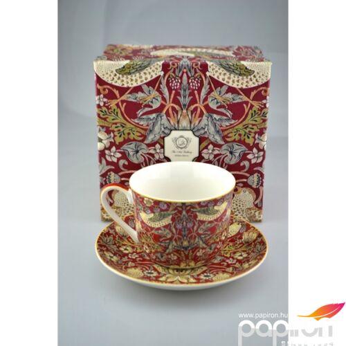 Porcelán bögre+alátét 410ml William Morris Red