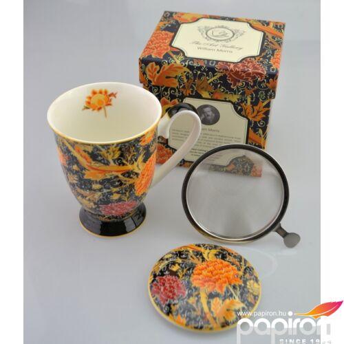 Porcelán bögre 300ml-es William Morris-Virág bögre+szűrő+tető 8,5x10,5cm-es díszdobozos finom porcelán