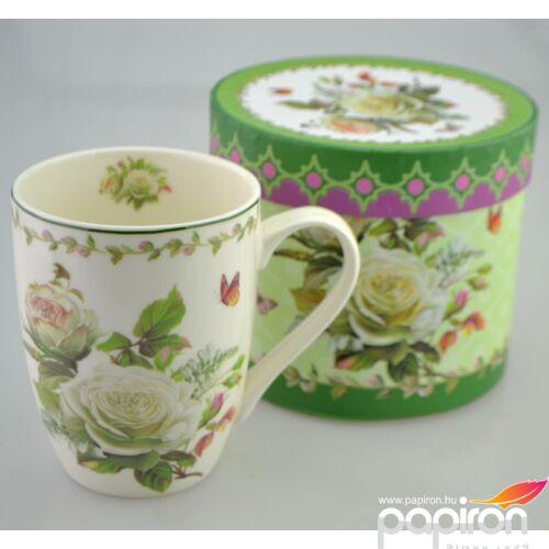 Porcelán bögre 350ml-es Edith mintás bögre 8,3x10,5cm-es díszdobozos finom porcelán