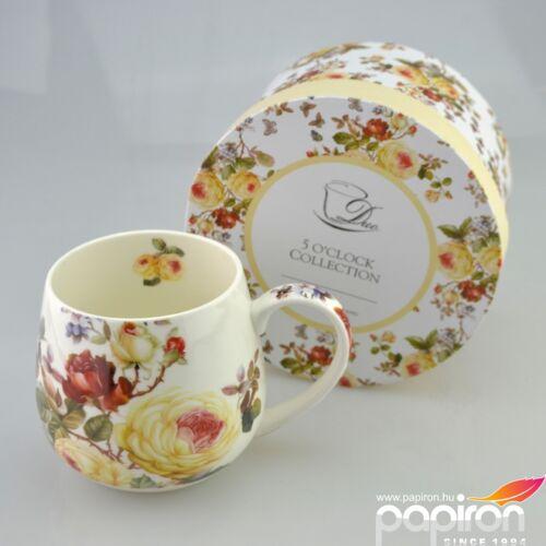 Porcelán bögre 450ml-es Fehér Rózsás mintás bögre 8x9cm-es díszdobozos finom porcelán