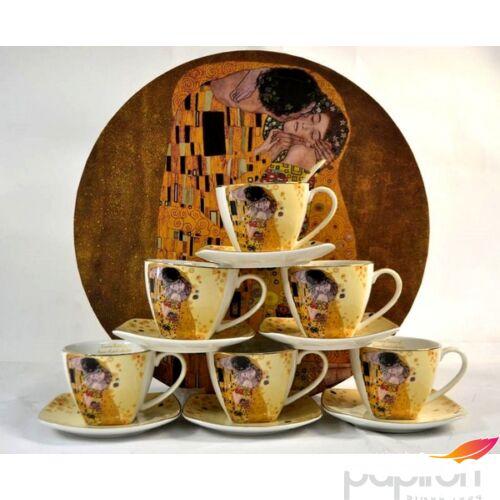 Porcelán teáskészlet Klimt Kiss, 6 szeméyles Ecru