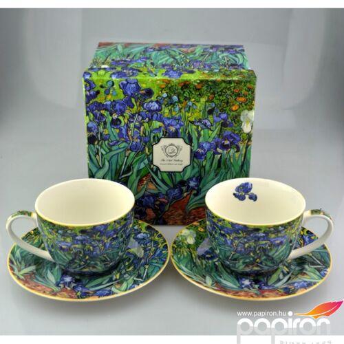 Porcelán bögre+alátét 2x250ml Iriszek, Van Gogh, 2 személyes