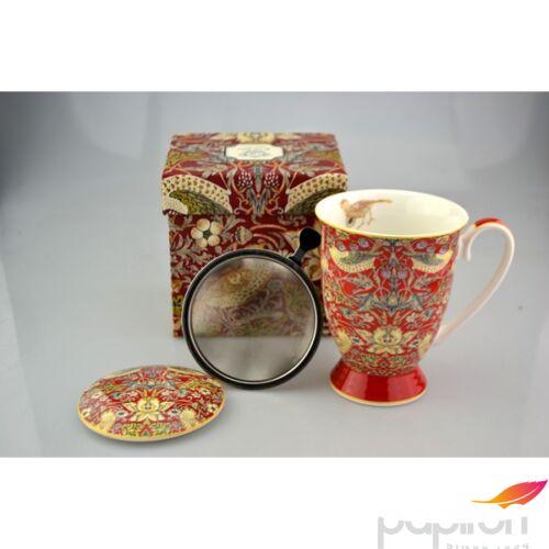 Porcelán bögre 290ml szűrős, William Morris Red