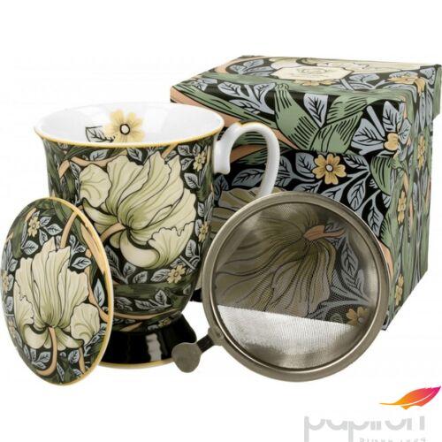 Porcelán bögre 280ml szűrős, William Morris Green