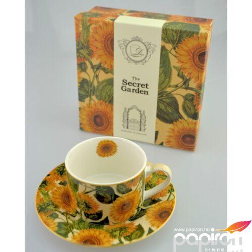 Porcelán csésze 250ml-es Napraforgó mintás csésze+alj 9x6cm-es díszdobozos finom porcelán