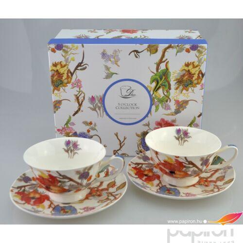 Porcelán csésze szett 210ml-es Harangvirág mintás 2-2db csésze+alj 10,5x6cm-es díszdobozos finom porcelán