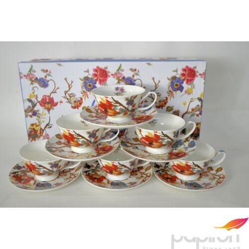 Porcelán csésze szett 210ml-es Harangvirág mintás 6-6db csésze+alj 10,5x6cm-es díszdobozos finom porcelán