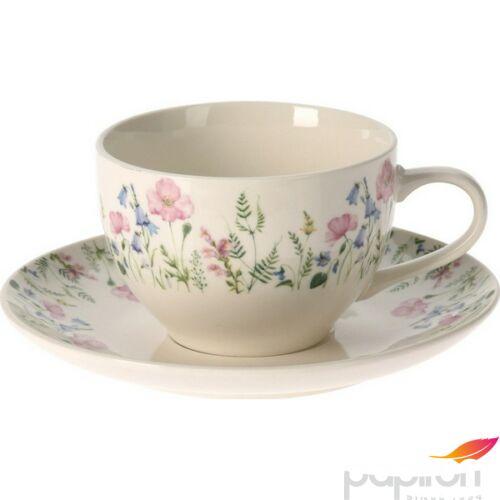 Porcelán csésze+alj 200ml 6db-os szett, virág mintás