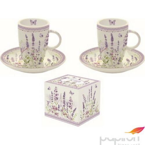 Porcelán csésze+alj 50ml szett, 2 személyes, dobozban, Lavender