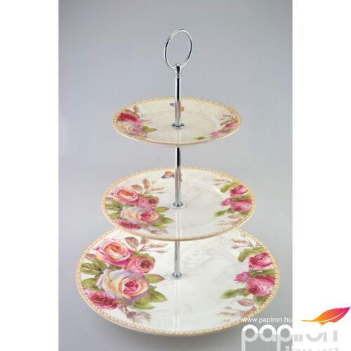 Porcelán kínáló 3 emeletes Süteményes, virágok ÁTM:27CM M:34CM