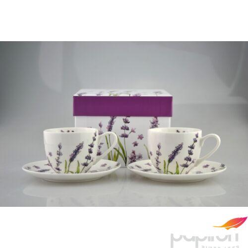 Porcelán mokkás készlet Levendula mintás bögre díszdobozos porcelán
