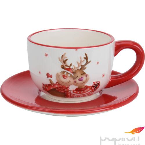 Reggeliző szett karácsonyi min kerámia bögre + tányér