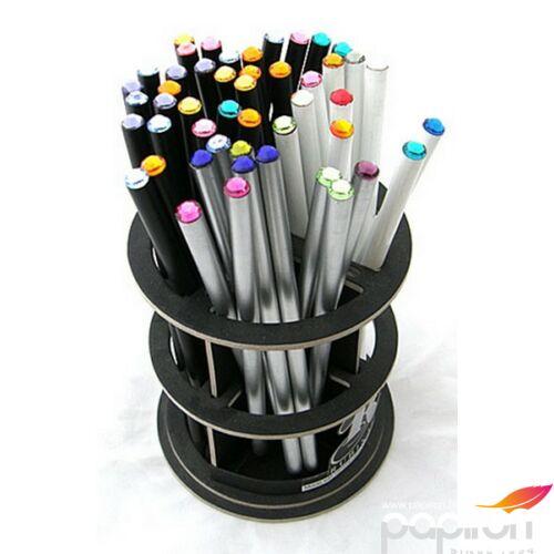 Swarovski ceruza ezüst testű 2 Rózsaszín Kristállyal Made With Swarovski Elements