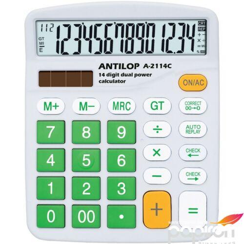 Számológép Antilop A-2114C normál asztali számológép 14digit Zöld színű 14,5x12x4cm-es