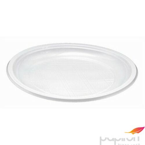 Műanyag tányér mikrózható 21cm lapos fehér 85db/csomag Műanyag evőeszközök