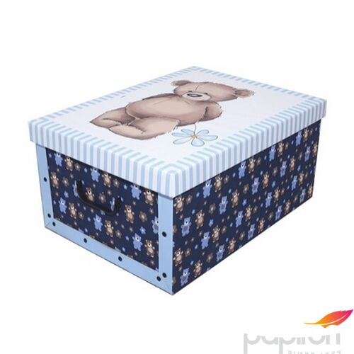 Tárolódoboz maxi 51x37x24cm Maci kék színű háttér
